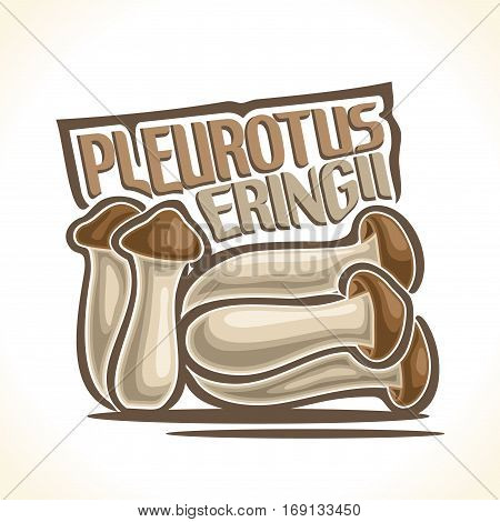 Vector logo Pleurotus Eryngii Mushrooms: heap greenhouse cultivation mushrooms, cartoon still life with lettering pleurotus eryngii, abstract label organic king oyster edible fungi with inscription.