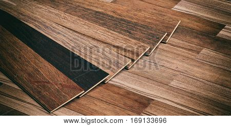 Laminate Floor On Wooden Background. 3D Illustration