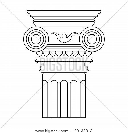 Column icon in outline design isolated on white background. Architect symbol stock vector illustration.