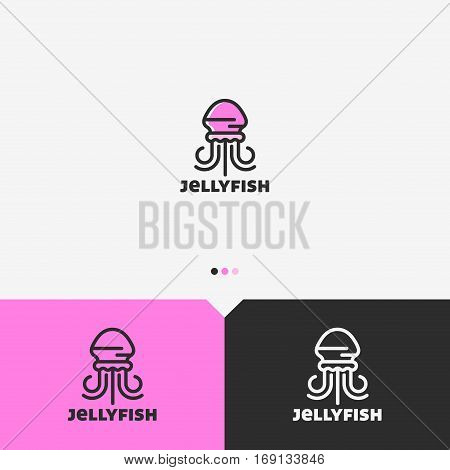 Pink Jellyfish Logo Design Template. Simple and Clean Outline Style. Color and Monochromatic Version. Vector.