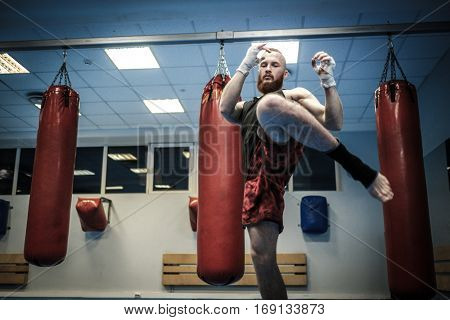 Fighter shadowboxing at the gym.