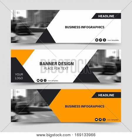 Orange horizontal business banner templates. Vector corporate identity design technology background layout. Trendy website header eps10