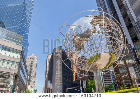 New York USA- May 20 2014. Looking Up view of The Globe Sculpture by Kim Brandell at The Trump International Hotel and Tower near the 59th Street Columbus Circle Subway Station New York USA.