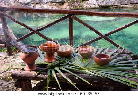 Mayan pots of items for shaman ceremony
