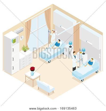 Medical ward isometric template with doctor visiting patient and nurse making necessary medical procedures isolated vector illustration