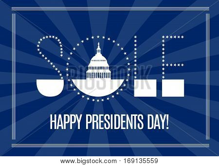 Presidents Day sale banner with Washington DC White house and stars lettering isolated on dark rays background. USA landmark. Vector illustration