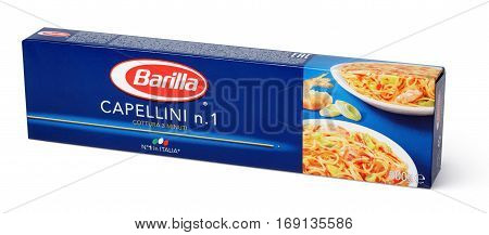 Front View Of Barilla Capellini N.1 Italian Pasta Isolated On White Background