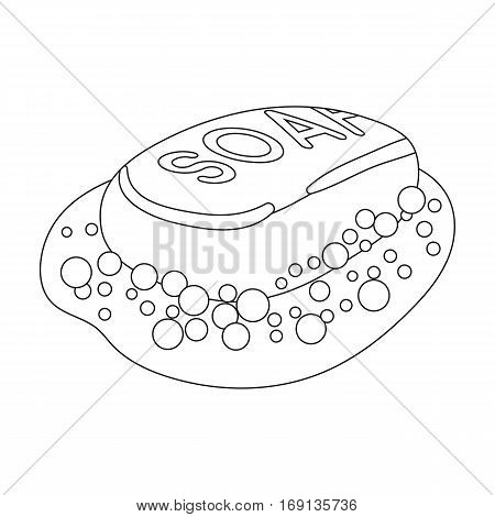 Soap icon in outline design isolated on white background. Cleaning symbol stock vector illustration.
