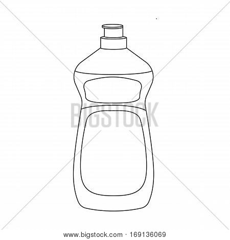 Dishwashing soap icon in outline design isolated on white background. Cleaning symbol stock vector illustration.