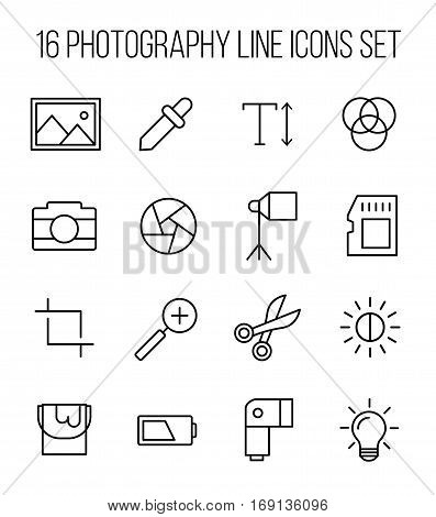 Set of photography icons in modern thin line style. High quality black outline camera symbols for web site design and mobile apps. Simple photography pictograms on a white background.