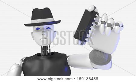 Female hacker black hat robot holding a chip isolated on white 3D illustration