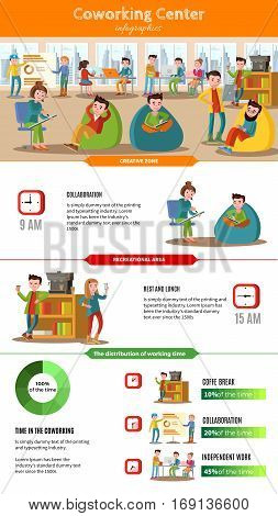 Teamwork people infographic concept with freelancers and effective time management in coworking center vector illustration