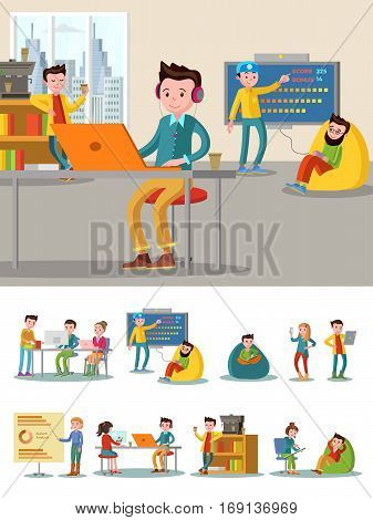 Coworking center flat composition with freelancers recreational zone and working space in comfortable office vector illustration