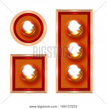 Marquee lights close-up vector illustration on white background