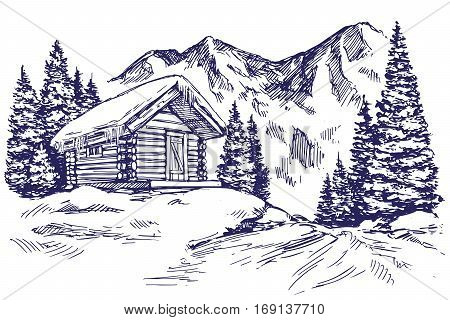 house in mountain the snow landscape hand drawn vector illustration sketch