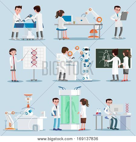 Artificial intelligence elements set with scientists and inventions in robotic cybernetic genetic engineering industries isolated vector illustration