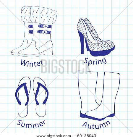 Summer, winter, spring and autumn footwear on a writingbook leaf, a scribble in blue color