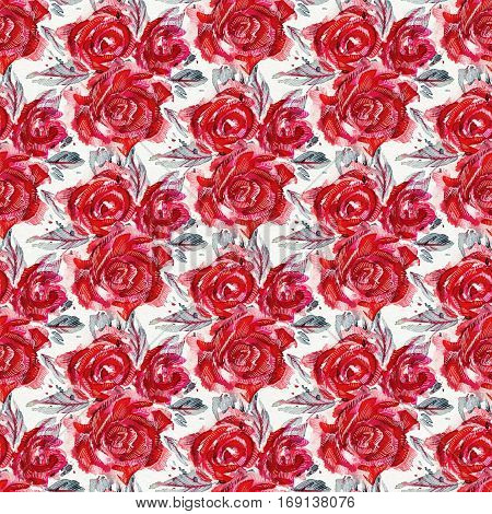 Seamless pattern with red watercolor roses. Hand-drawn illustration.