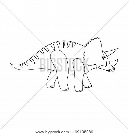 Dinosaur Triceratops icon in outline design isolated on white background. Dinosaurs and prehistoric symbol stock vector illustration.
