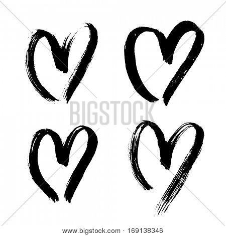 Hand drawn heart isolated vector icons set sketch for Valentines day, wedding birthday love element symbol design. Heart drawing marker or felt-tip pen on white background