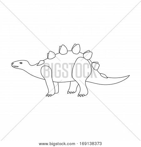 Dinosaur Stegosaurus icon in outline design isolated on white background. Dinosaurs and prehistoric symbol stock vector illustration.