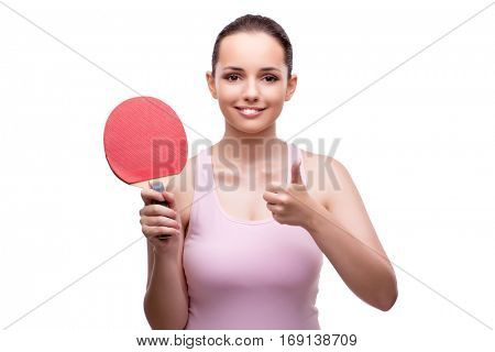 Young woman with table tennis racquet isolated on white