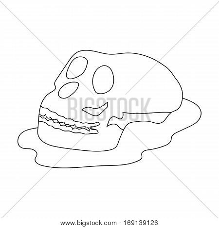 Human fossils icon in outline design isolated on white background. Dinosaurs and prehistoric symbol stock vector illustration.