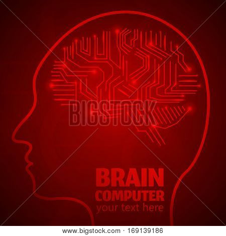 Human Brain Logo, Neurology Anatomical Conception.Silicon chips w synapses in shape of Cerebrum Cerebellum w text Brain computer on red luminous background.Brain Thought lights shines as Brain works