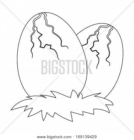 Eggs of dinosaur icon in outline design isolated on white background. Dinosaurs and prehistoric symbol stock vector illustration.