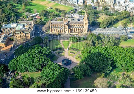 SYDNEY - JULY 14:  The Sydney Hyde park and St Mary's Cathedral , view from tower on July 14th 2014. in Sydney, Australia.