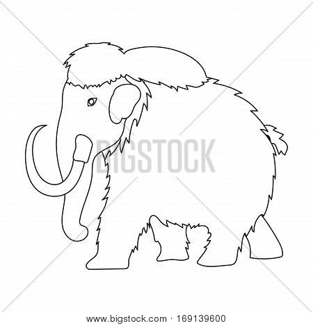 Mammoth icon in outline design isolated on white background. Dinosaurs and prehistoric symbol stock vector illustration.