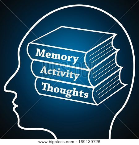 Human Head Logo Silhouette, Brain Study Conception.Books in brain named Memory, Activity, Thoughts symbolizing Personal development, Brain Learn on dark blue luminous background.Human psychology concept