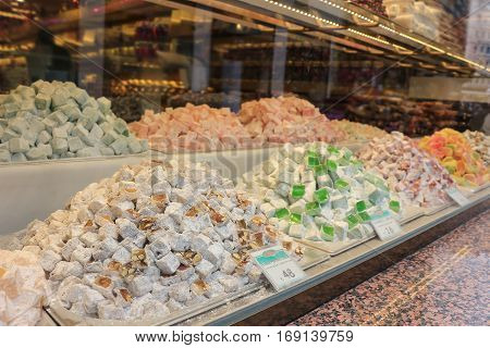 Turkish Delight Candies In Storefront