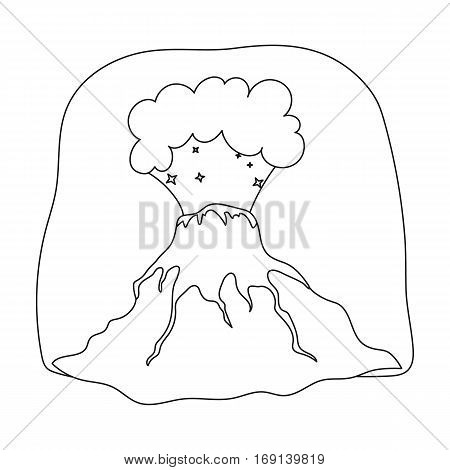 Volcano eruption icon in outline design isolated on white background. Dinosaurs and prehistoric symbol stock vector illustration.