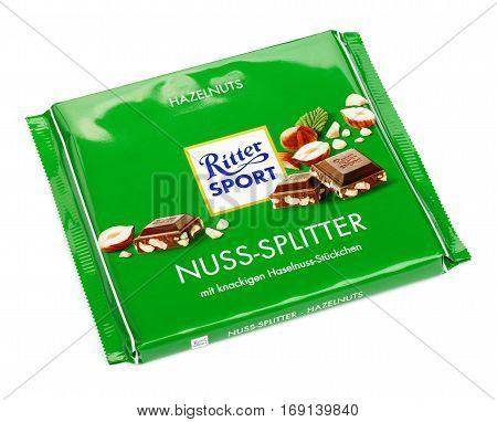 MOSCOW RUSSIA - FEBRUARY 5 2017: Green Ritter Sport milk chocolate bar isolated on white with clipping path. Ritter Sport chocolate bar made by Alfred Ritter GmbH & Co.