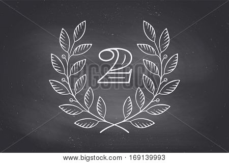 Laurel wreath icon with number Two isolated on a black chalkboard background. Hand drawn design and element for tournament, competition, winner, prize and awarding. Vector Illustration