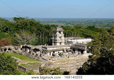 Ancient city of Palenque sits like a king on a throne of jungle where plains meet mountains. The picture presents general view of the palace complex Mexico