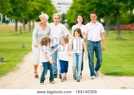 big family walking through the park, enjoying summer.