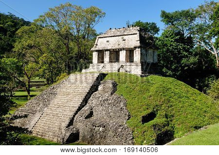Ancient city of Palenque sits like a king on a throne of jungle where plains meet mountains Mexico