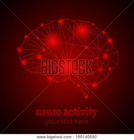 Abstract Human Brain Medical Logo, Neurology Anatomical Conception.Cerebral Geometric Brain and Cerebellum on red luminous background w text Neuro Activity.Brain Thought lights shines as Brain works
