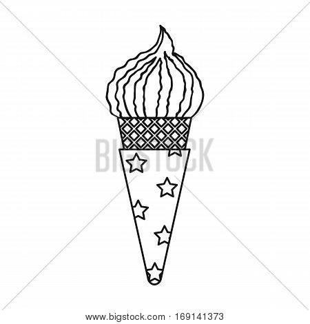 Ice cream in waffle cone icon in outline design isolated on white background. Ice cream symbol stock vector illustration.