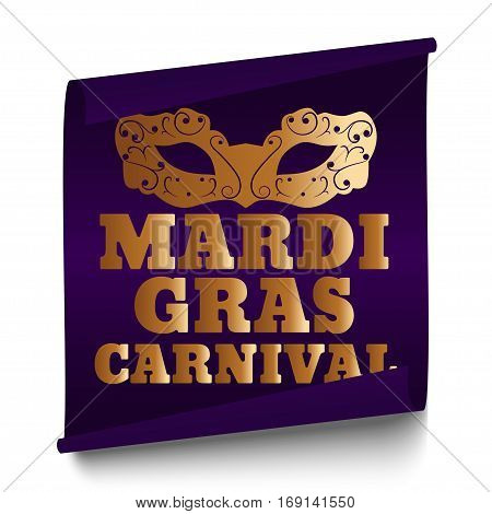Purple Mardi Gras banner with mask on a white background