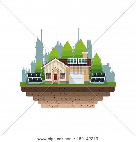 house suburban solar panel city background vector illustration eps 10