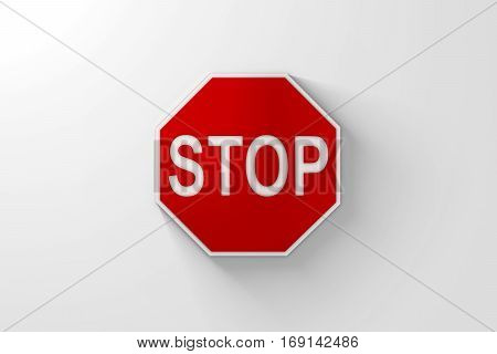 Red Stop Sign with Shadow over Bright White Background. 3D Illustration. Lots of space for cropping.