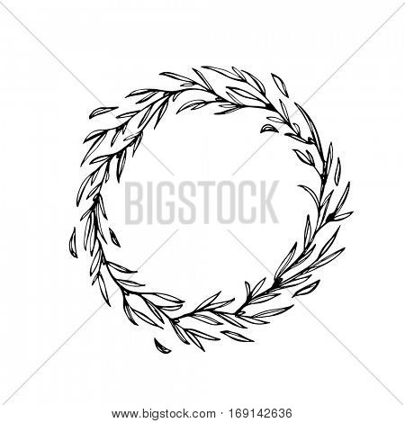 Laurel wreath decoration. Hand drawn vector Christmas garland of leaf and branches twigs