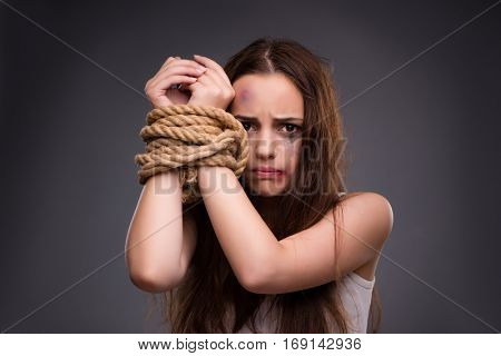 Woman in violence and discrimination concept