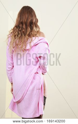 Seductive Lady In Dressing Gown.
