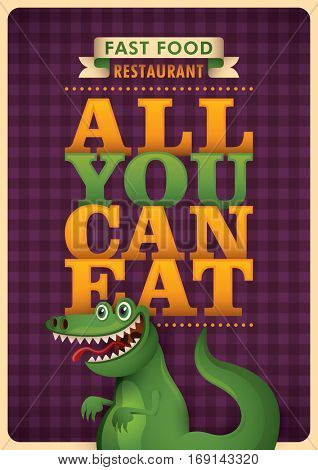 Advertising fast food poster design with slogan and comic smiling alligator. Vector illustration.