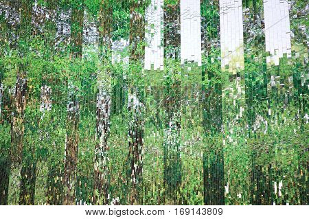 glass wall with abstract refection green trees