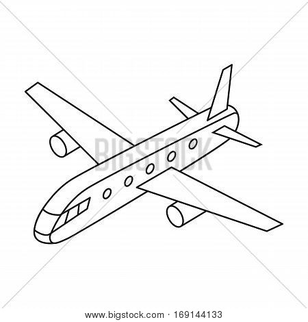 Airplane icon in outline design isolated on white background. Transportation symbol stock vector illustration.